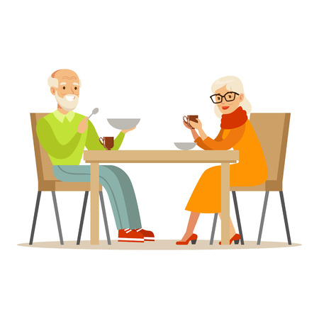 time sharing: Grandfather And Grandmother Having Dinner, Part Of Grandparents Having Fun With Grandchildren Series. Different Generations Of Family Enjoying Time Together Vector Cartoon Illustration. Illustration