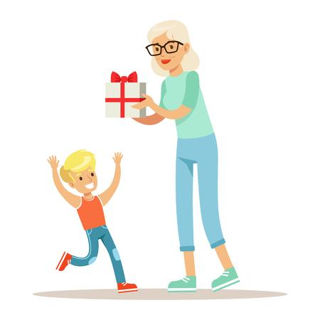 Grandmother Giving Present To Boy, Part Of Grandparents Having Fun With Grandchildren Series Illustration