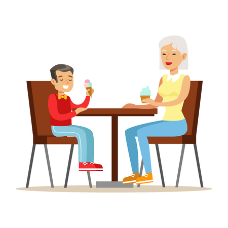 Grandmother And A Boy Eating Ice-cream, Part Of Grandparents Having Fun With Grandchildren Series. Different Generations Of Family Enjoying Time Together Vector Cartoon Illustration.