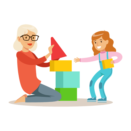 Girl And Grandmother Building Pyramid From Blocks, Part Of Grandparents Having Fun With Grandchildren Series. Different Generations Of Family Enjoying Time Together Vector Cartoon Illustration.