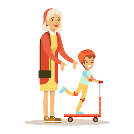 Grandmother Teaching Boy To Ride Scooter, Part Of Grandparents Having Fun With Grandchildren Series. Different Generations Of Family Enjoying Time Together Vector Cartoon Illustration.