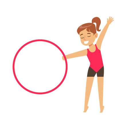 hula hoop: Little Girl Doing Gymnastics Exercise With Hula-Hoop Apparatus In Class, Future Sports Professional. Small Happy Kid And Adorable Stage Performance Vector Illustration.