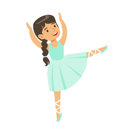 Little Girl In Blue Dress With Plat Dancing Ballet In Classic Dance Class, Future Professional Ballerina Dancer. Small Happy Kid And Adorable Stage Performance Vector Illustration.