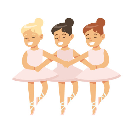 Little Girls Dancing Swans Lake Ballet In Classic Dance Class, Future Professional Ballerina Dancer. Small Happy Kid And Adorable Stage Performance Vector Illustration.