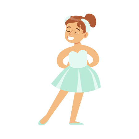 Little Girl In Swans Lake Costume Dancing Ballet In Classic Dance Class, Future Professional Ballerina Dancer. Small Happy Kid And Adorable Stage Performance Vector Illustration.