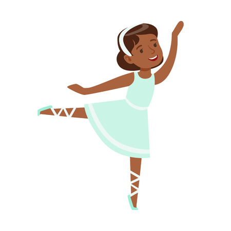 hairband: Little Girl In Blue Dress Dancing Ballet In Classic Dance Class, Future Professional Ballerina Dancer. Small Happy Kid And Adorable Stage Performance Vector Illustration.