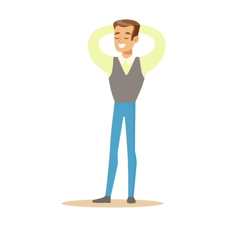 Man In Shirt And Vest Overwhelmed With Happiness And Joyfully Ecstatic, Happy Smiling Cartoon Character. Person Excited And Blissful With Positive Emotions Vector Illustration. Illustration