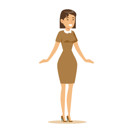 overwhelmed: Woman In Brown Dress Overwhelmed With Happiness And Joyfully Ecstatic, Happy Smiling Cartoon Character. Person Excited And Blissful With Positive Emotions Vector Illustration.
