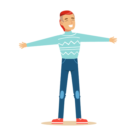 overwhelmed: Man In Blue Sweater Overwhelmed With Happiness And Joyfully Ecstatic, Happy Smiling Cartoon Character. Person Excited And Blissful With Positive Emotions Vector Illustration.