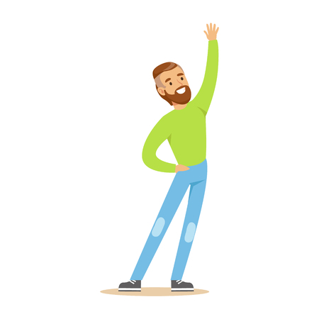 Beardy Man In Green Sweater Overwhelmed With Happiness And Joyfully Ecstatic, Happy Smiling Cartoon Character. Person Excited And Blissful With Positive Emotions Vector Illustration.