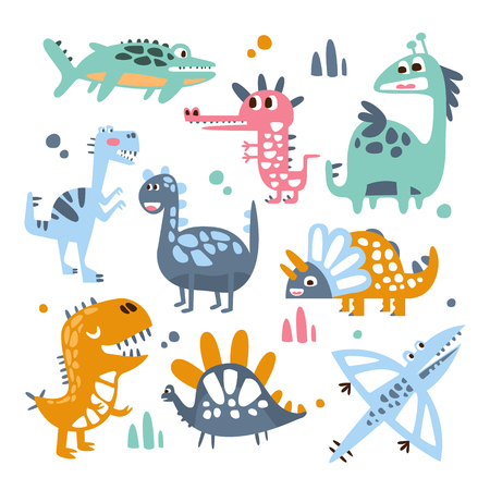 jurassic: Funky Stylized Dinosaurs Real Species And Imaginary Jurassic Reptiles Set Of Colorful Childish Prints