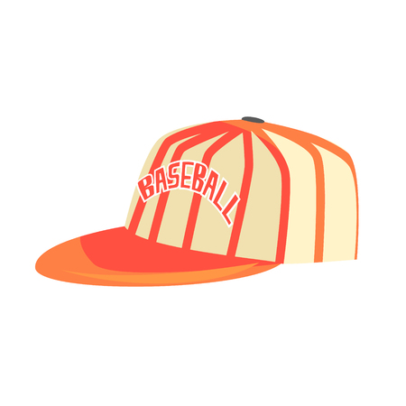 sport fan: Pitcher Cap With Orange Stripes, Part Of Baseball Player Ammunition And Equipment Set Isolated Objects Illustration