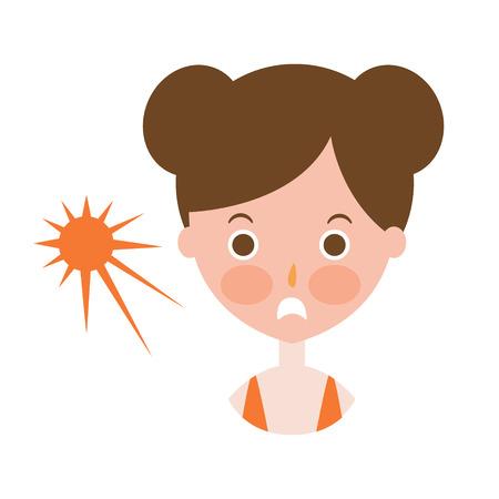 Woman Upset With Sunburn On Cheeks, Part Of Summer Beach Vacation Series Of Illustrations Illustration