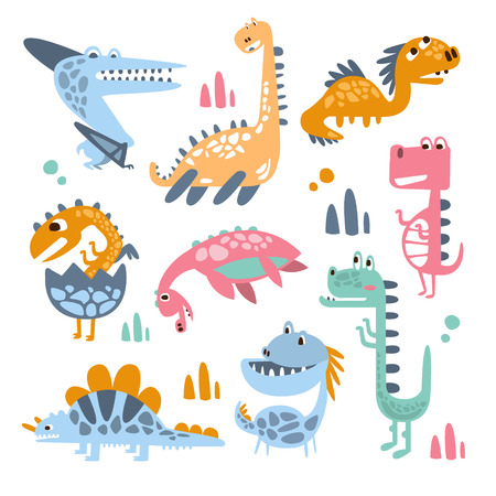 jurassic: Funky Stylized Dinosaurs Real Species And Imaginary Jurassic Reptiles Collection Of Colorful Childish Prints