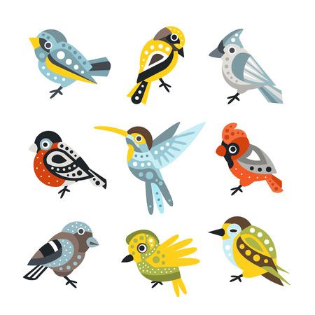 sparrows: Small Bird Species, Sparrows And Hummingbirds Set Of Decorative Artistic Design Wild Animals Vector Illustrations
