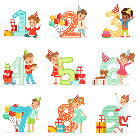 Little Children Birthday Celebration Set With Adorable Kids Standing Next To The Growing Digits Of Their Age Ilustração