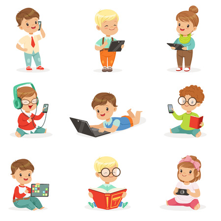 listening to music: Small Kids Using Modern Gadgets And Reading Books, Childhood And Technology Set Of Cute Illustrations