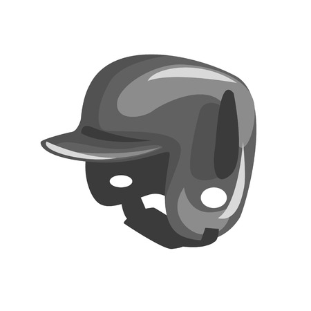 head protection: Black Plastic Helmed For Head Protection, Part Of Baseball Player Ammunition And Equipment Set Isolated Objects Illustration