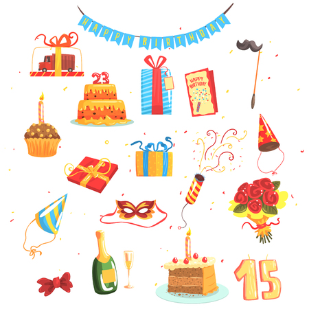 Happy Birthday Party Set Of Isolated Cute Cartoon Objects Related To Partying And Celebrating Illustration