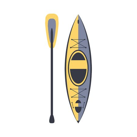Yellow And Blue Kayak And Peddle, Part Of Boat And Water Sports Series Of Simple Flat Vector Illustrations