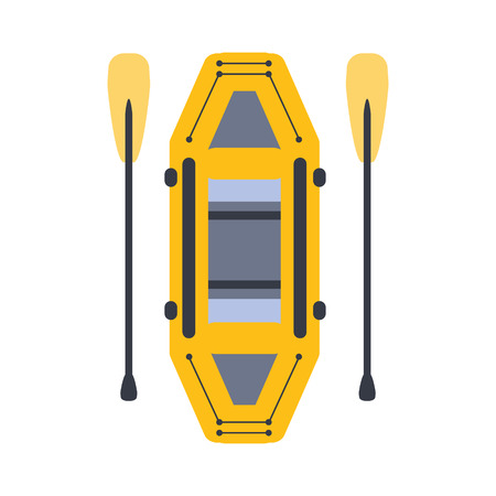 peddle: Yellow Inflatable Raft With Two Peddles, Part Of Boat And Water Sports Series Of Simple Flat Vector Illustrations