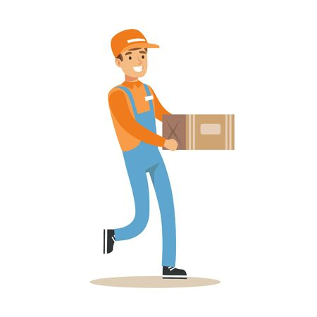 dungarees: Delivery Service Worker Running Holding Carton Box, Smiling Courier Delivering Packages Illustration