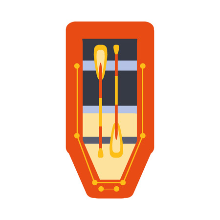 peddle: Red Inflatable Raft With Two Peddles, Part Of Boat And Water Sports Series Of Simple Flat Vector Illustrations