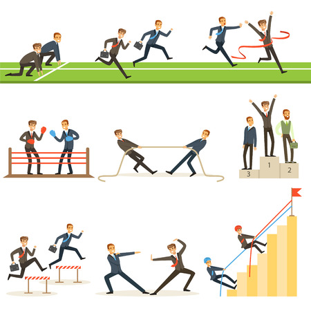 Business Competition Set Of Illustrations With Businessman Running And Competing In Sports Stock Photo