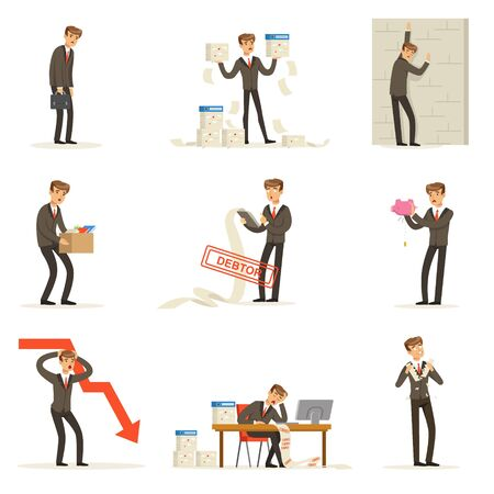 debtor: Business Fail And Manager Suffering Loss And Being In Debt Set Of Bankruptcy And Company Failure Vector Illustrations