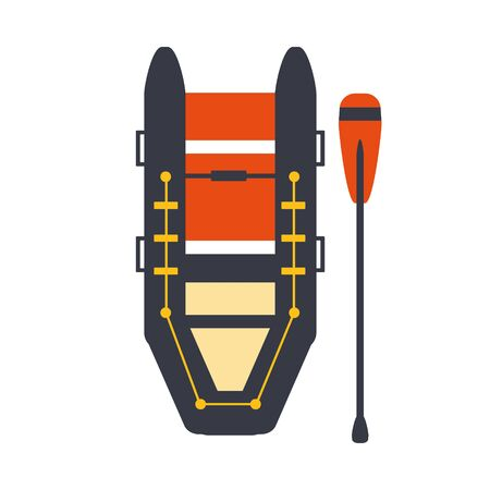 peddle: Grey And Red Inflatable Raft With One Peddle, Part Of Boat And Water Sports Series Of Simple Flat Vector Illustrations Stock Photo