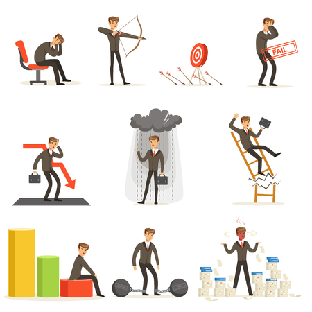 Business Fail And Manager Suffering Loss And Being In Debt Set Of Buncrupcy And Company Failure Vector Illustrations 版權商用圖片