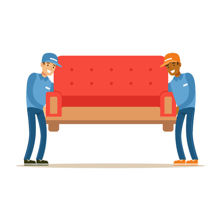 resettlement: Delivery Service Worker Helping With Moving Carrying Sofa, Smiling Courier Delivering Packages Illustration