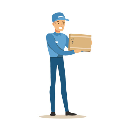 Delivery Service Worker Holding Small Fragile Box, Smiling Courier Delivering Packages Illustration