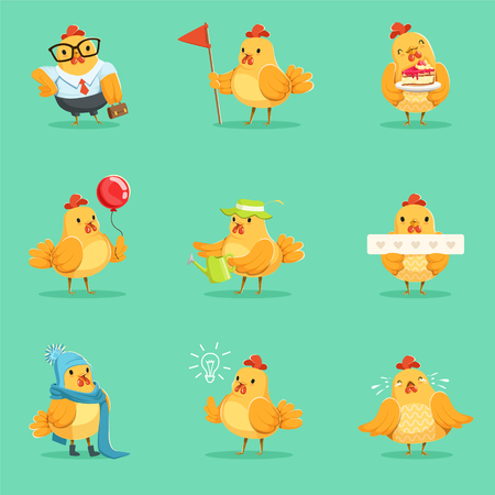 Little Yellow Chicken Chick Different Emotions And Situations Series Of Cute Emoji Illustrations