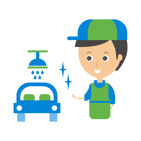 man made: Cleanup Service Worker And Clean Car, Cleaning Company Infographic Illustration
