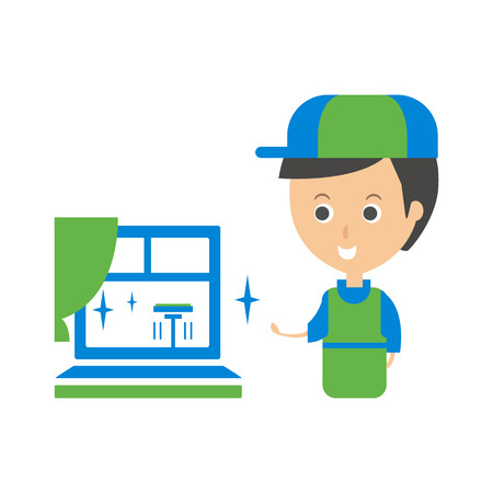 Cleanup Service Worker And Clean Window, Cleaning Company Infographic Illustration Illustration