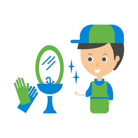 man made: Cleanup Service Worker And Clean Bathroom Tap, Cleaning Company Infographic Illustration