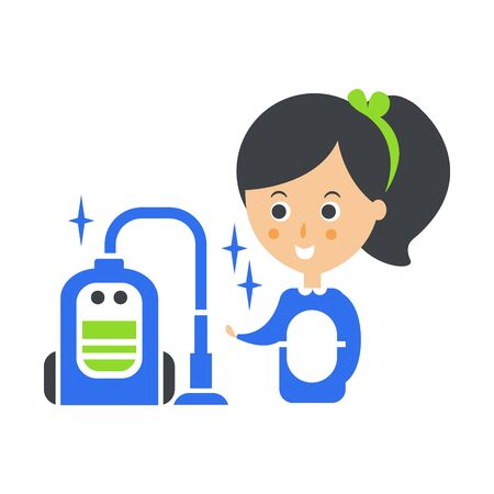 Cleanup Service Maid And Vacuum Cleaned Floor, Cleaning Company Infographic Illustration