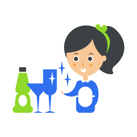 Cleanup Service Maid And Clean Glasses, Cleaning Company Infographic Illustration Illustration