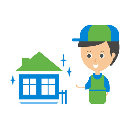 Cleanup Service Worker And Clean Home, Cleaning Company Infographic Illustration Illustration