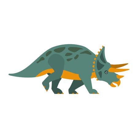 Triceratops Dinosaur Of Jurassic Period, Prehistoric Extinct Giant Reptile Cartoon Realistic Animal Stock Photo