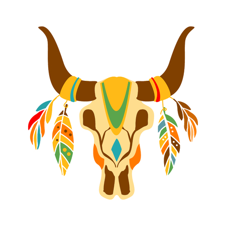 Buffalo Bull Scull Decorated With Painting And Feathers, Native Indian Culture Inspired Boho Ethnic Style Print Illustration