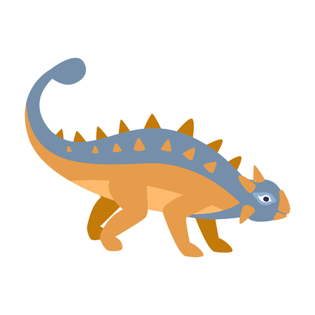 Ankylosaurus Blue And Orange Dinosaur Of Jurassic Period, Prehistoric Extinct Giant Reptile Cartoon Realistic Animal. Simplified Dinosaur Species Illustration With Recognizable Details Of Ancient Fauna. Illustration
