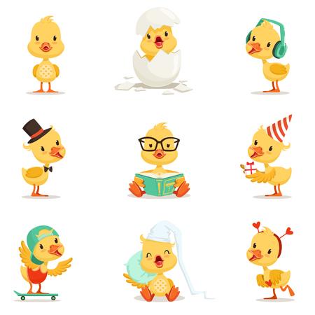 Little Yellow Duckling Different Emotions And Situations Set van schattige Emoji-illustraties. Gehumaniseerd Wild Baby Bird Activiteiten Cartoon Stickers. Vector Illustratie