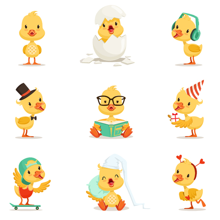 Little Yellow Duckling Different Emotions And Situations Set Of Cute Emoji Illustrations. Humanized Wild Baby Bird Activities Cartoon Stickers. Illustration