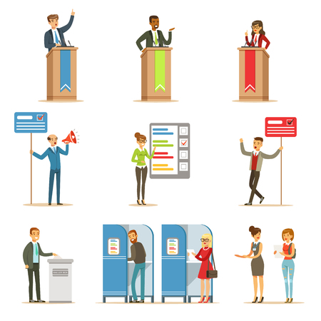 polling station: Political Candidates And Voting Process Set Of Democratic Elections Themed Illustrations