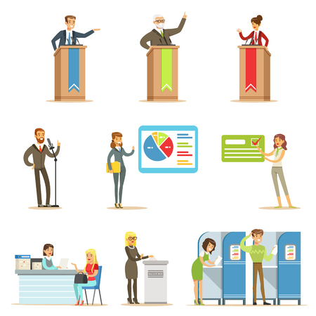 polling booth: Political Candidates And Voting Process Series Of Democratic Elections Themed Illustrations