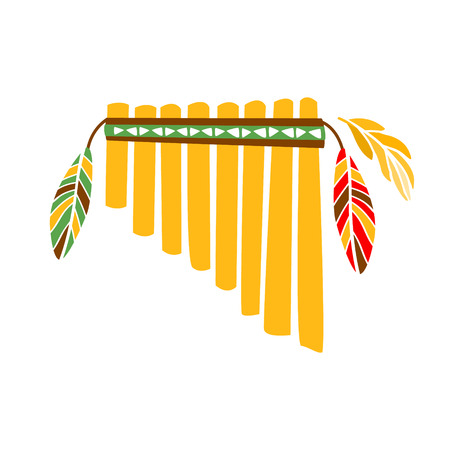 panpipes: Ghost Panpipes Flute Music Instrument With Feather Decoration, Native Indian Culture Inspired Boho Ethnic Style Print