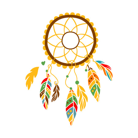 Decorative Dream Catcher With Feathers , Native Indian Culture Inspired Boho Ethnic Style Print