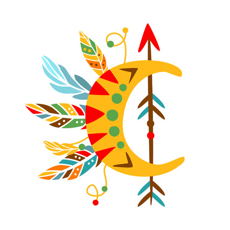 Decorative Object With Arrow , Feathers And Crescent Shape, Native Indian Culture Inspired Boho Ethnic Style Print